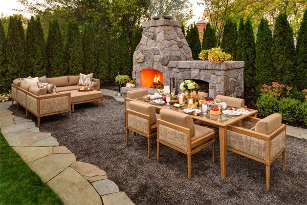 patio fireplace gravel