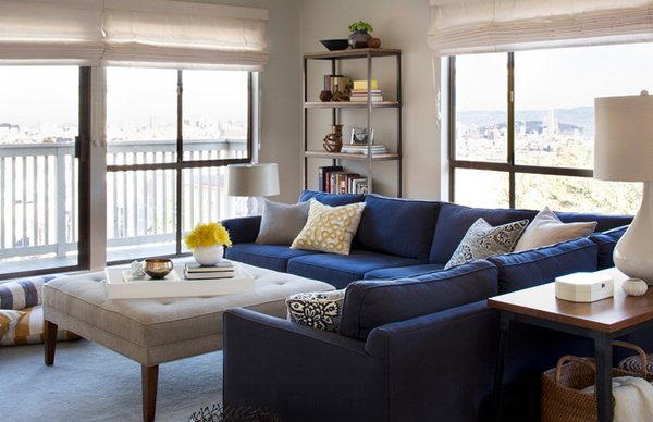 Classic Blue Couch Living Room Ideas Set