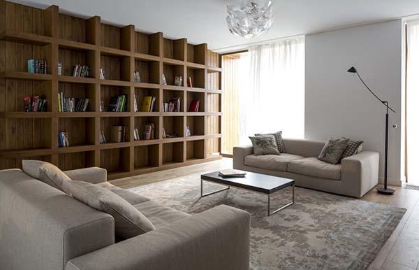 bookshelf study area