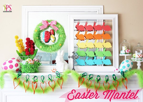 DIY easter-themed mantels