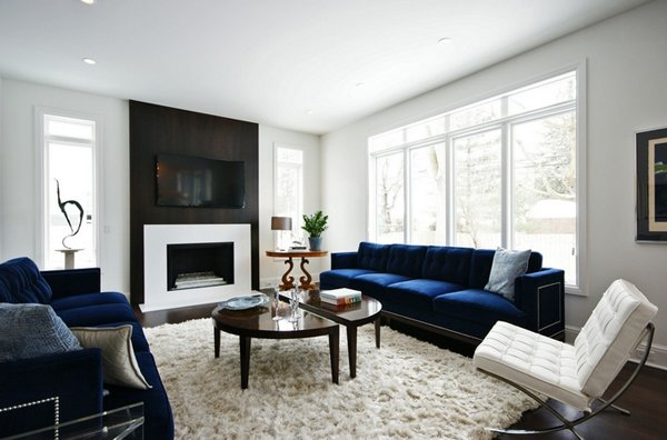 Navy Blue And Coral Living Room