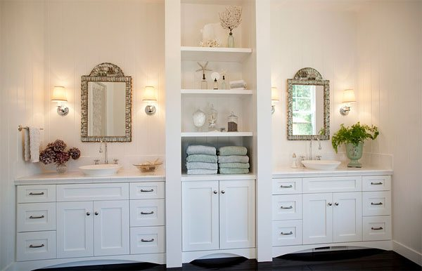 white cabinetry bathroom linen