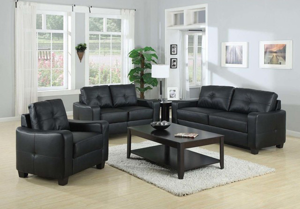 20 modern leather living room furniture home design lover for Living room with black leather furniture