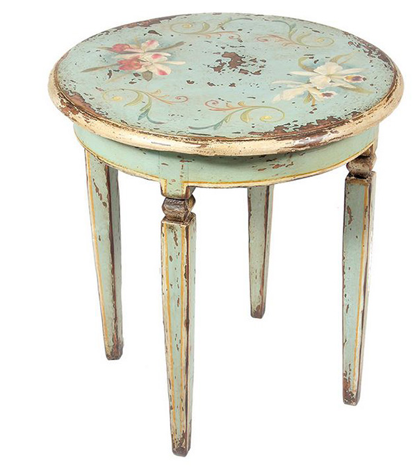 Distressed Floral End Tables