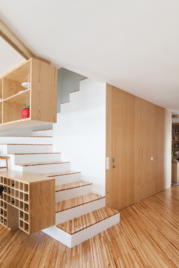 clean wood staircase design