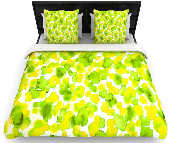 blotted green bed sheets