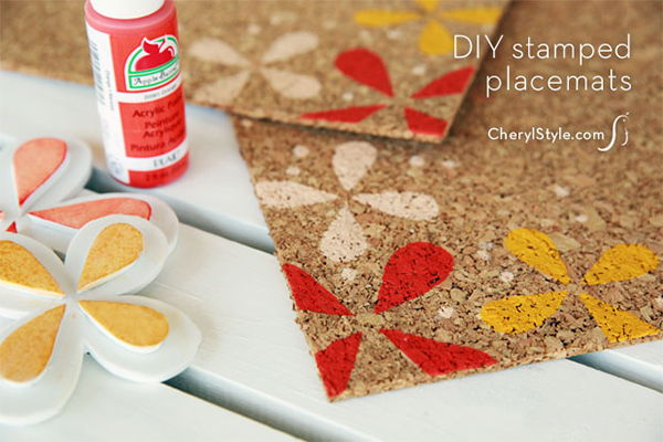 DIY stamped cork placemats