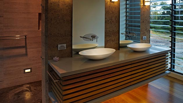22 Relaxing Bath Spaces With Wooden Bathroom Cabinets | Home Design Lover