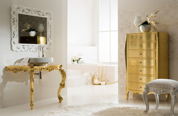 Baroque inspired modern bathroom in gold