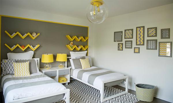 zigzag yellow bedroom
