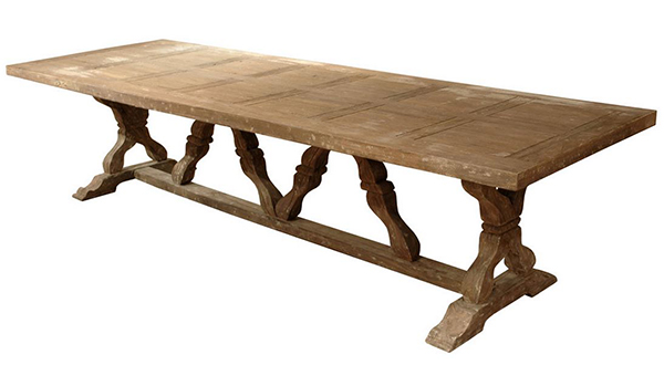Linley Heavy Distress Farm House 14 Person Trestle Dining Tables