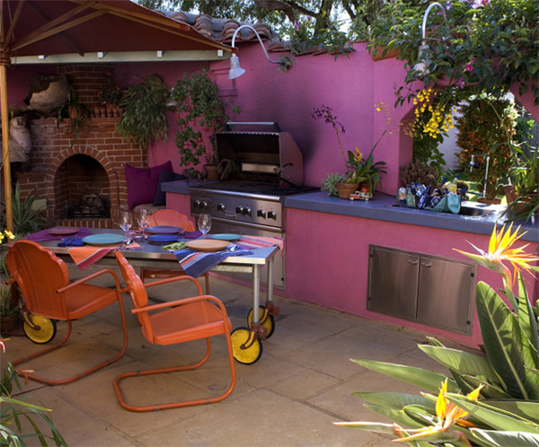 pink outdoor kitchen