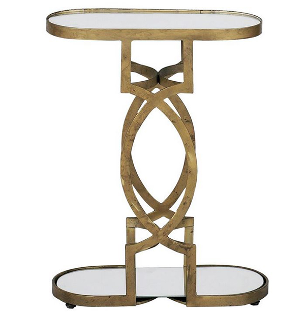 Natasha Art Deco Antique Brass Geometric Side End Tables