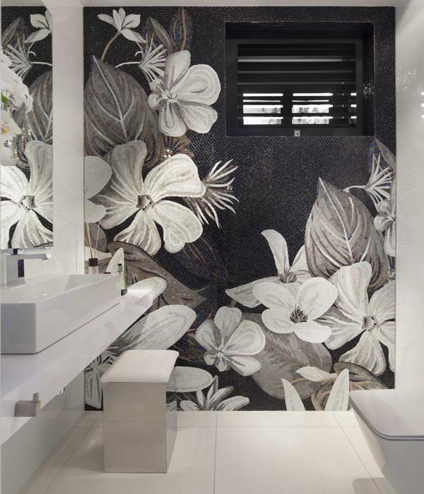 floral mosaic wall