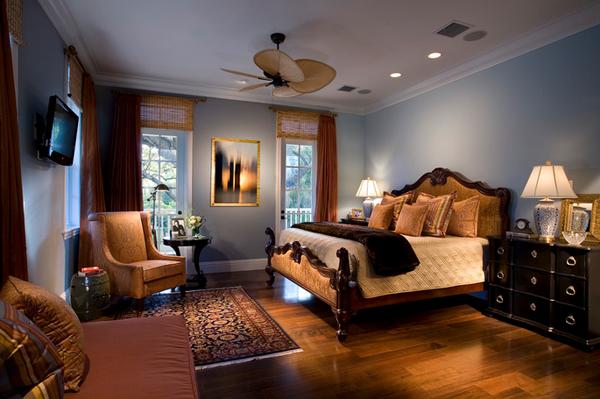 brown bedroom lighting