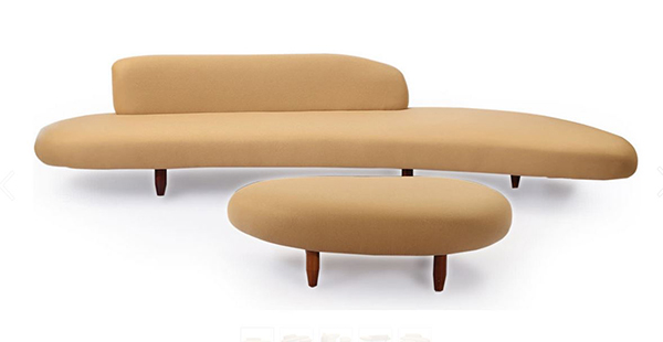 Kidney Bean Mid-century Modern Sofa & Ottoman, Latte Cashmere Wool/ Walnut Legs