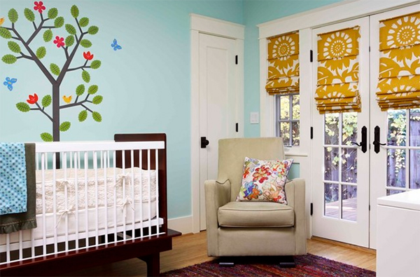 Nursery room floral shades