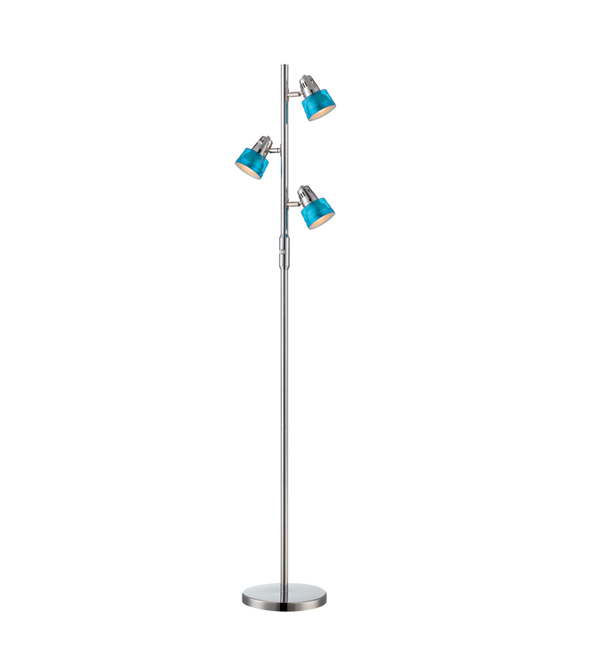 3-light blue floor lamp