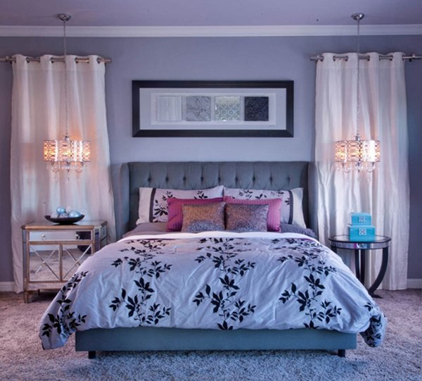 purple accent bedroom