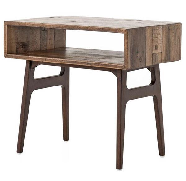 Ryan Reclaimed Wood Modern Rustic Geometric Nightstand
