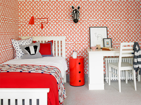 red wallpaper bedroom