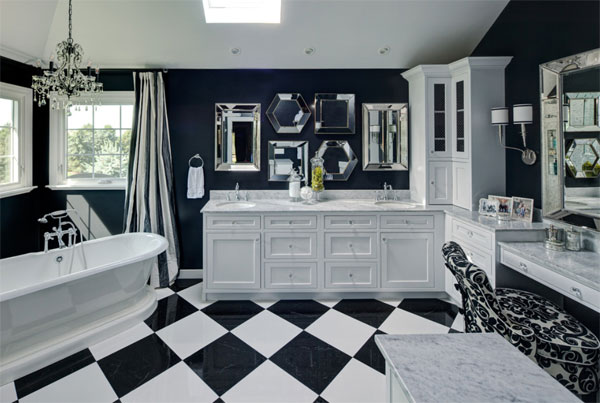 contrasting tile bathroom flooring ideas