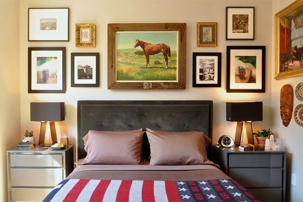 Framed photos headboard