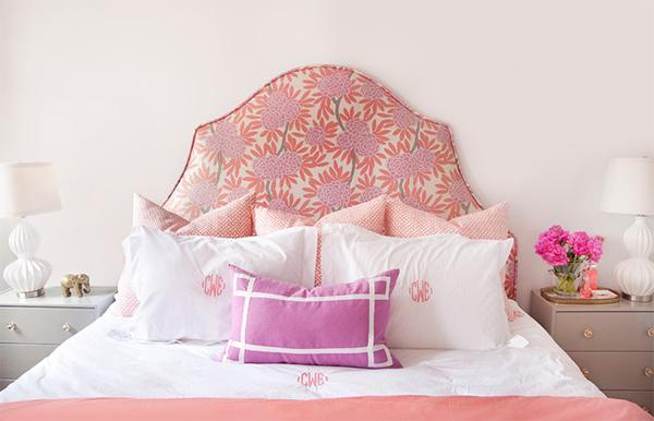 pink floral headboard design