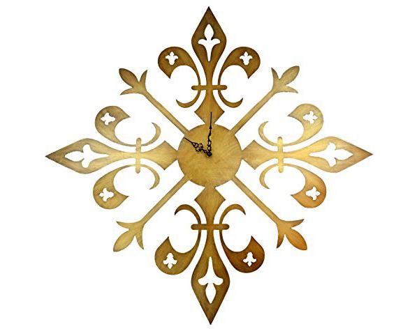 Cross Fleur De Lis Wall Clock