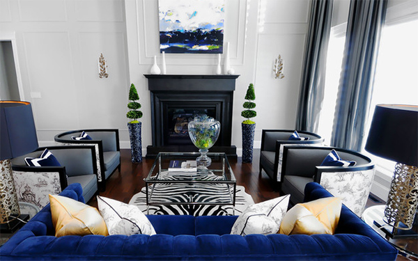 Blue black white21 Ways to Add Zebra Prints in the Living Room   Home Design Lover. Animal Print Living Room. Home Design Ideas