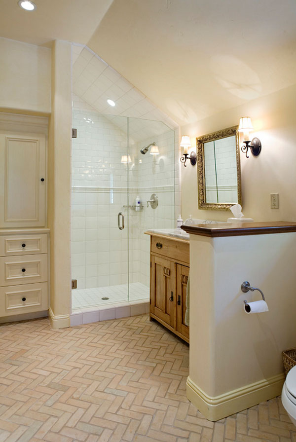 brick tile bathroom flooring ideas
