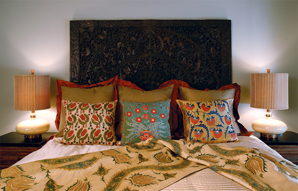 wood carved headboard