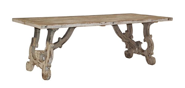 Vennie Distressed Pine Antique White Dining Tables