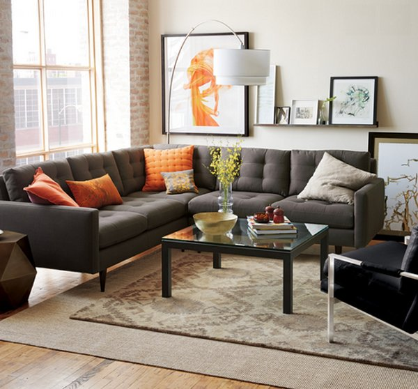 grey sofas in living room. orange with grey 20 Gorgeous Grey Sofa in the Living Room  Home Design Lover