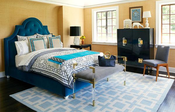 Bedroom blue geometric pattern