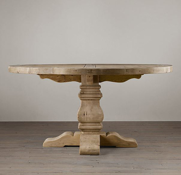 Salvaged Wood Trestle Round Table