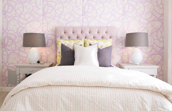 lavender leather headboard