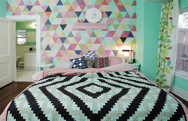 colorful triangle wall pattern