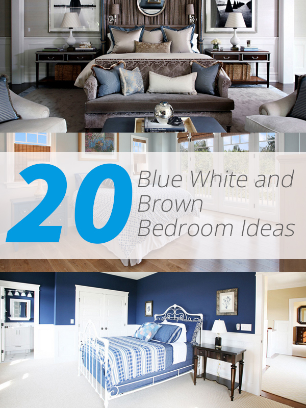 Blue White Brown Bedroom