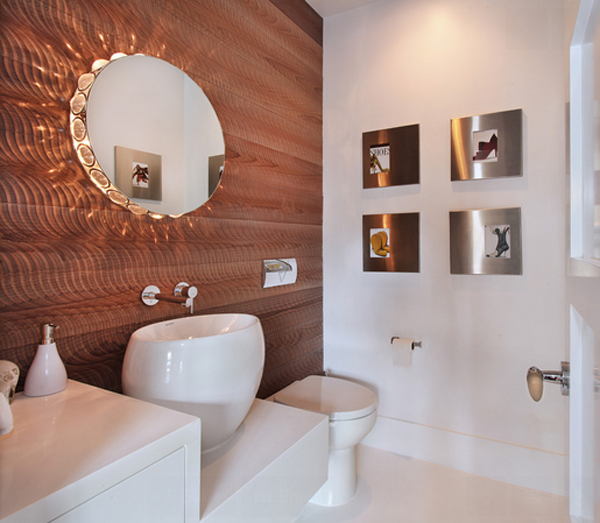20 captivating bronze accents in powder rooms home for Modelo de lavaderos en casa
