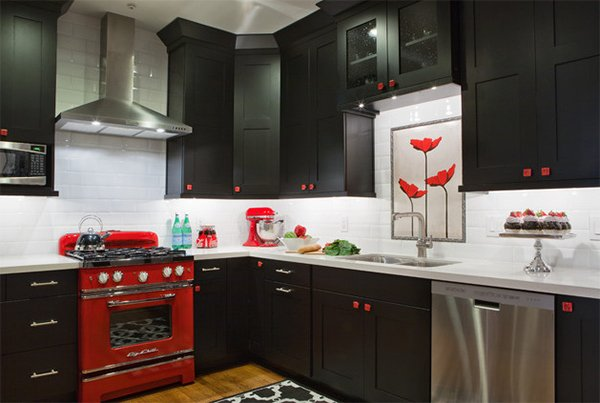 Black And Red Kitchen Designs brown kitchen cabinets contemporary kitchen design red black and white kitchen decor dark kitchen cabinets Kitchen Color Ideas