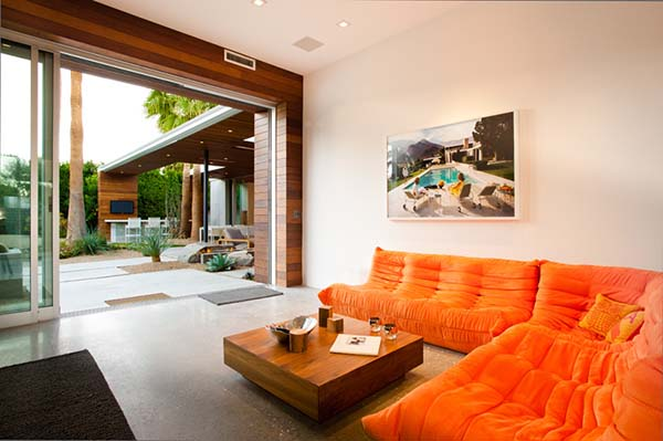 orange floor level sofa