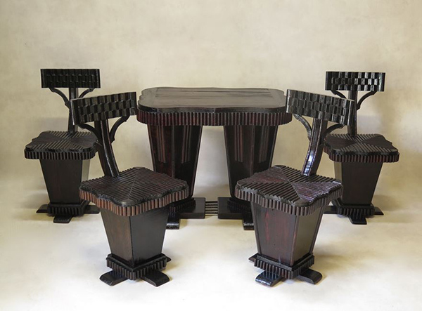 Unusual Art Deco Table and Chair Set, France, 1930s