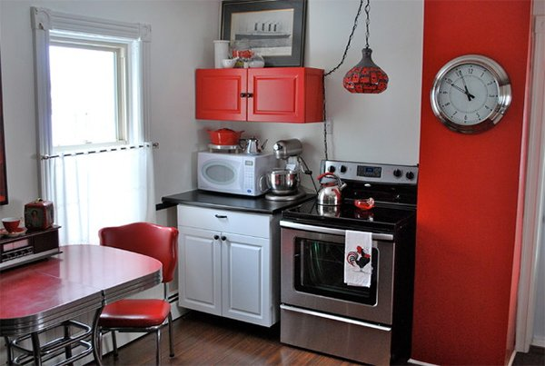 Subtle Retro Color Scheme Idea  20 Red Black And White Kitchen Designs Home