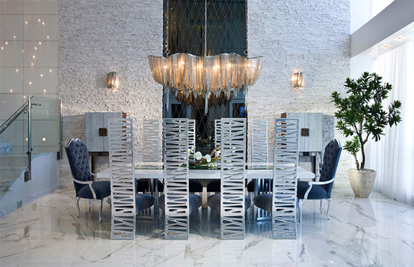 Contemporary Dining Room with Metal Chair