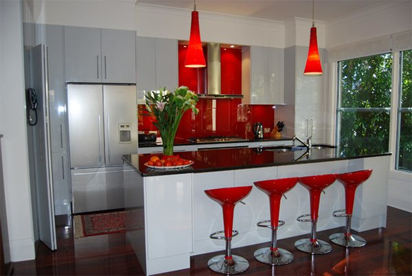 Red Chairs Backsplash  Beautiful Contemporary Kitchen Color Scheme Idea 20 Red Black And White Kitchen Designs Home