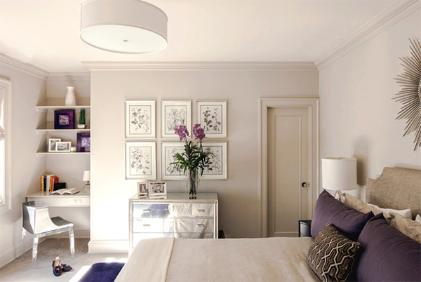 violet accent bedroom