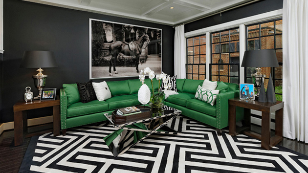 black white and green living room 20 gorgeous black and green living rooms home design lover 25365