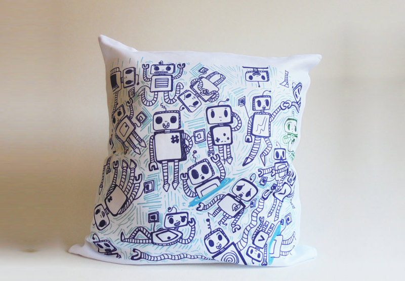 Blue Robots Illustrated Print Decorative Throw Pillow