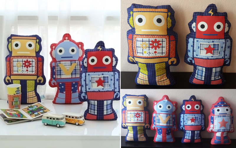Robot Toy Fabric Plush Softie Play Cushion